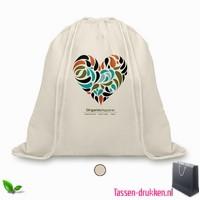 Biologisch katoenen rugzakje bedrukken, tassen bedrukken, tasje bedrukt, bedrukte tas met logo