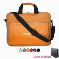 Laptoptas 15 inch gekleurd bedrukken, laptoptas bedrukken, laptoptas bedrukt, bedrukte laptoptas met logo